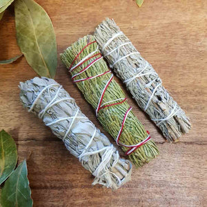 Triple Smudge Stick Pack (Cedar, White Sage, Blue Sage)