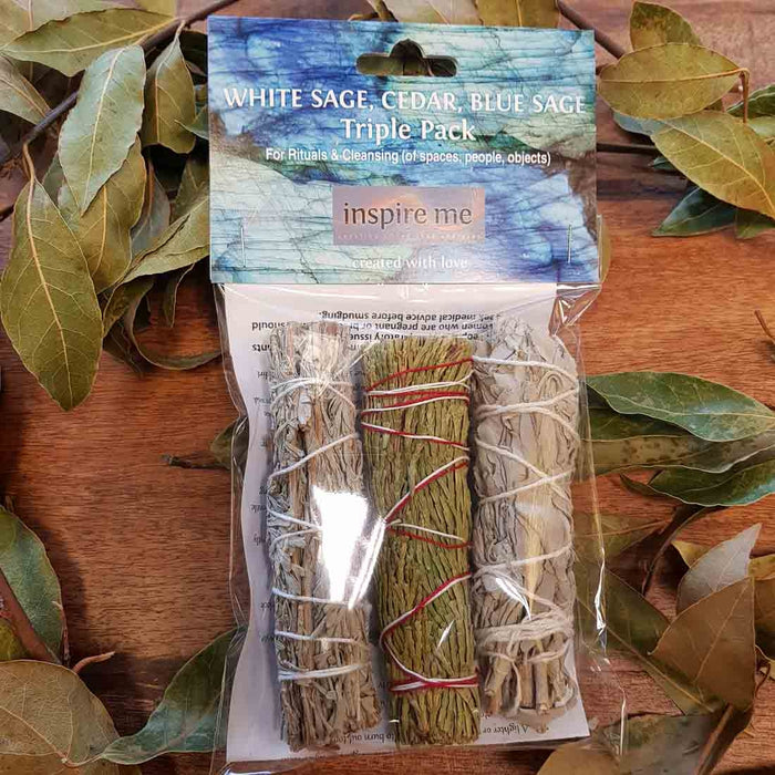 Triple Smudge Stick Pack (Cedar, White Sage, Blue Sage approx. 12x3cm each)