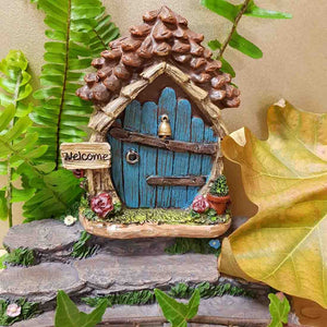 Fairy Door with Pot Plant (11cm) C