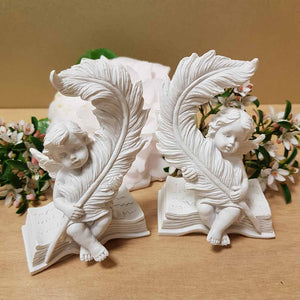 Cherub Angel with Book & Quill (2 assorted) (9x6x4.5)