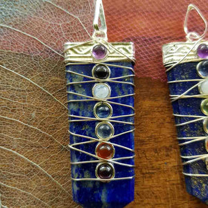 Lapis Wired Chakra Tabular Pendant (silver plated)