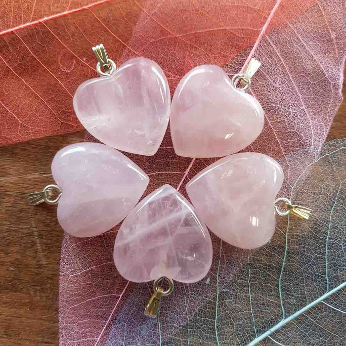Rose Quartz Heart Pendant. (assorted. 25mm. silver metal)
