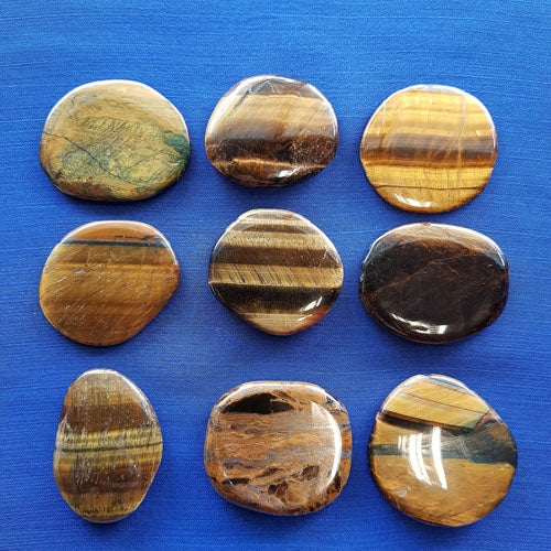 Gold Tigers Eye Flat Stone. (assorted approx. 4x3.5cm)