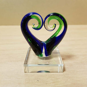 Blue & Green Koru Heart