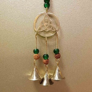 Triquetra with Brass Bells, Rudraksha & Glass Beads