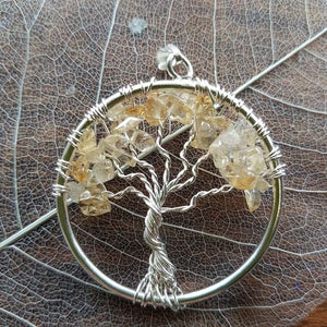 Citrine Tree of Life Pendant (silver metal)