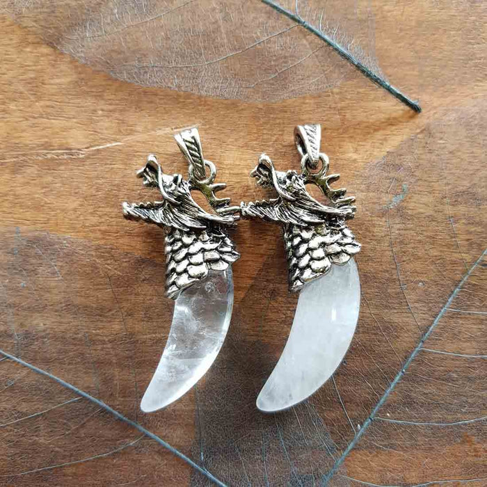 Quartz Tusk Pendant set in Dragons Head (Zinc Alloy)