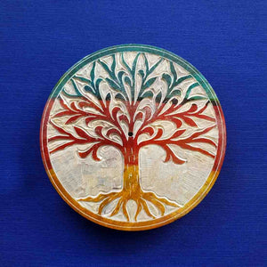 Tree of Life Round Colourful Soapstone Incense Holder (assorted approx. 10cm diameter)
