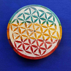 Round Flower of Life Soapstone Incense Holder (10cm)