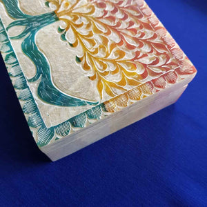 Colourful Tree of Life Soapstone Box (approx. 15x10x4.5cm)
