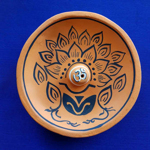 Large Om Lotus Orange Clay Incense Holder (13x13cm)