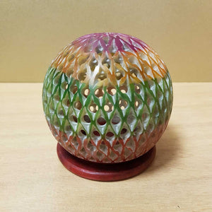 Colourful Lattice Ball Soapstone Incense Holder (8cm)