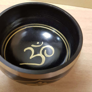 Black Brass Singing Bowl with Om Symbol (11cm)