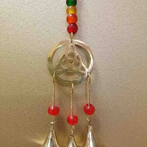 Triquetra Hanging Bells with Chakra Beads (brass)