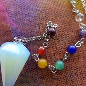 Opalite Faceted Pendulum with Chakra Stones (assorted & man-made)