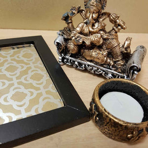 Reclining Ganesh Gold Look Candle Holder Set (3 pieces)