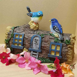 Fairy Cottage with Blue Birds (approx 29x20x12cm)