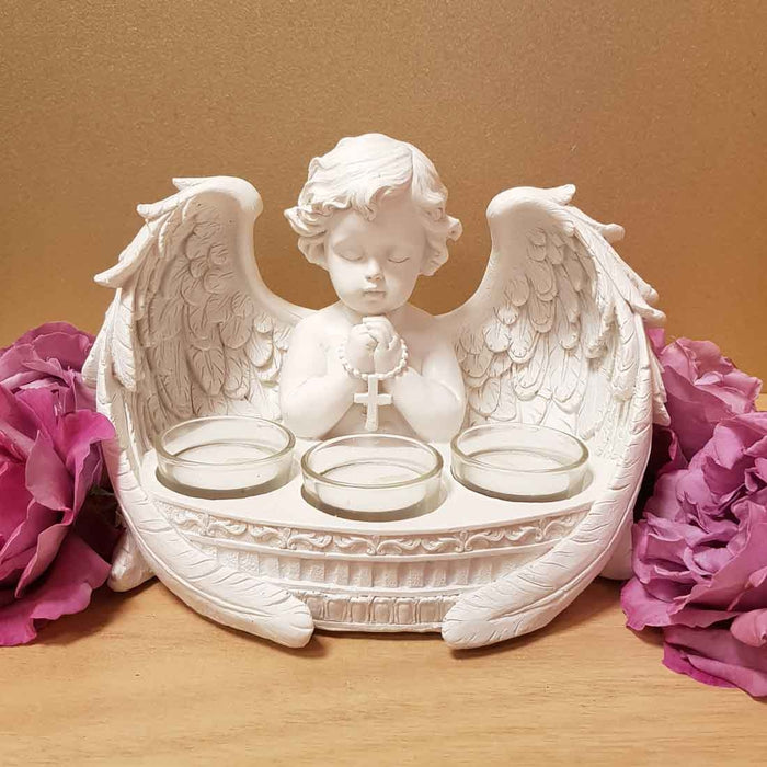 Praying Cherub Angel Candle Holder (approx 21x14cm)