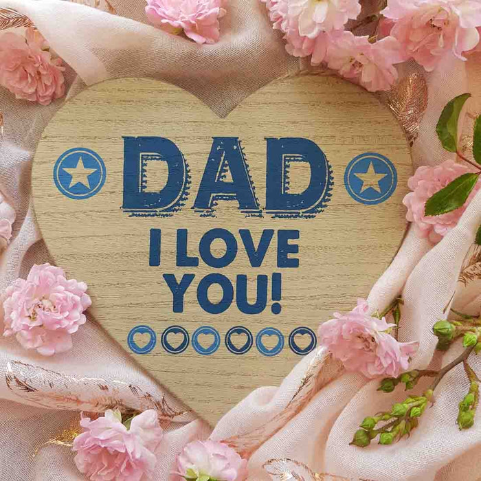 Dad I Love You Heart Plaque