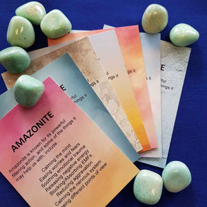 Amazonite Crystal Card (assorted backgrounds) stones not included