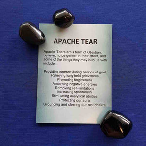 Apache Tear Crystal Card (assorted backgrounds)