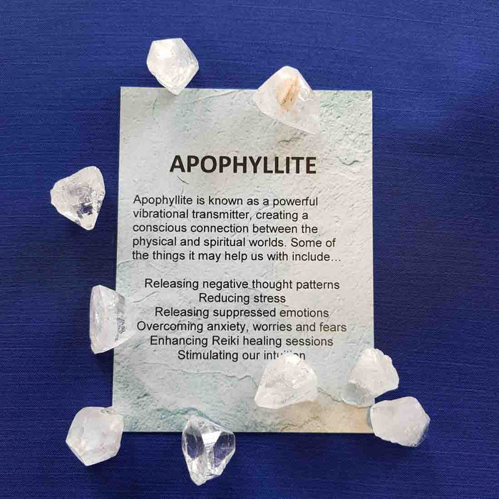 Apophyllite Crystal Card (assorted backgrounds) stones not included