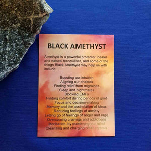 Black Amethyst Crystal Card (assorted backgrounds)