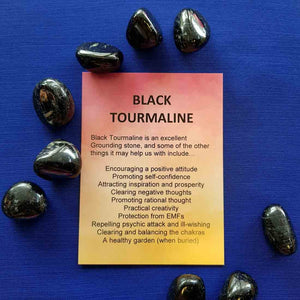 Black Tourmaline Crystal Card (assorted backgrounds)