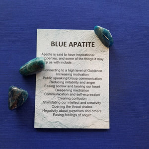 Blue Apatite Crystal Card (assorted backgrounds)