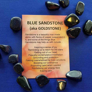 Blue Sandstone Crystal Card (assorted backgrounds)