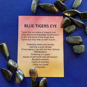 Blue Tigers Eye Crystal Card (assorted backgrounds)