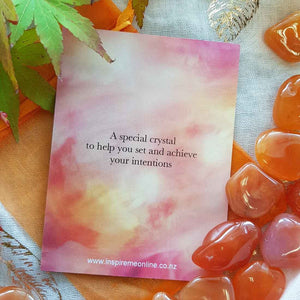 Carnelian Crystal Card (assorted backgrounds) stones not included