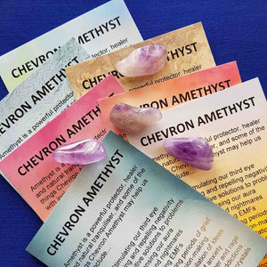 Chevron Amethyst Crystal Card (assorted backgrounds) stones not included