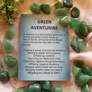 Green Aventurine Crystal Card (assorted backgrounds)