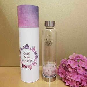 Crystal Energy Water Bottle with Rose Quartz (and Neoprene Sleeve)