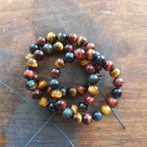 Blue Gold Red Tigers Eye Ball Bracelet (10mm beads)