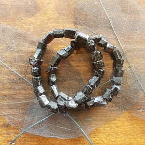 Black Tourmaline Small Chunky Rods Bracelet