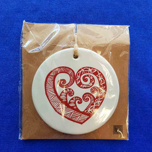 Pacific Aroha Tile (Red on White approx 8cm)