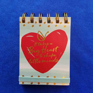 It Takes a Big Heart Spiral Bound Notepad (approx 7.5x11cm 75 lined sheets)