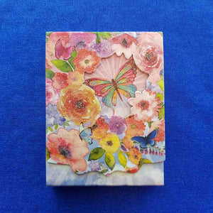 Butterfly in Flowers Notepad (approx 10x7.5cm)
