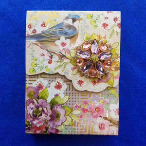 Bluebird Brooch Notepad (approx 12.5x9.5cm 75 lined sheets)