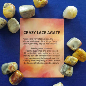 Crazy Lace Agate Crystal Card (assorted backgrounds)