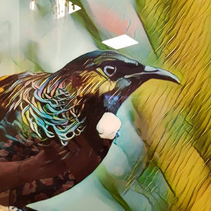 Tui on Glass Wall Art (approx 40x60cm)
