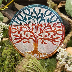 Round Tree of Life Colourful Soapstone Incense Holder (10cm)
