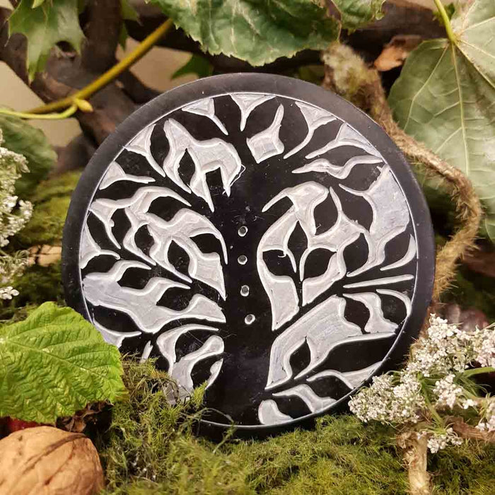 Round Tree of Life Black Soapstone Incense Holder (10cm)