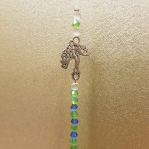 Hanging Green Faceted Prism with Tree of Life (30mm)