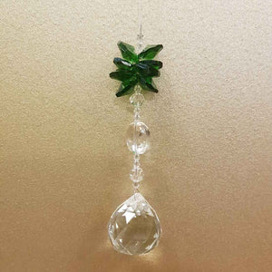 Hanging Faceted Prism with Green Cluster (30mm)