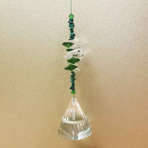 Hanging Lantern Prism with Green Cluster