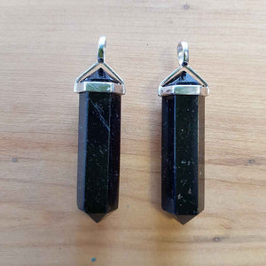 Black Tourmaline Point Pendant (sterling silver large)