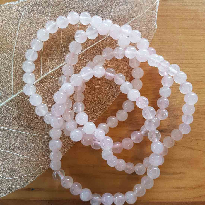 Rose Quartz Fine Ball Bracelet
